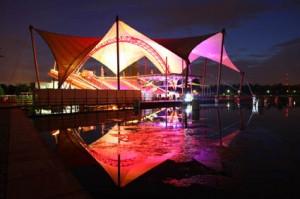 Seebühne Magdeburg bei Nacht